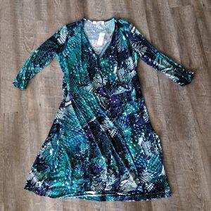 Teal and Purple Wrap Dress